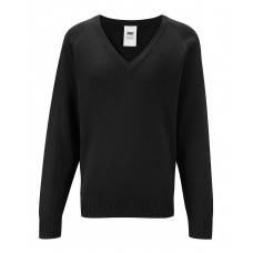 "Banner Black V Neck Knitted Jumper (34""- 36"")"